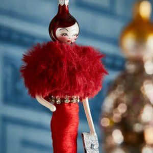 De Carlini NIB Vivianna Red Gown Ornament